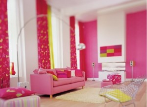 Red Pink Living Room Design