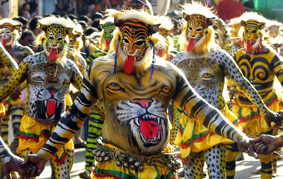 pulikali images of onam festival