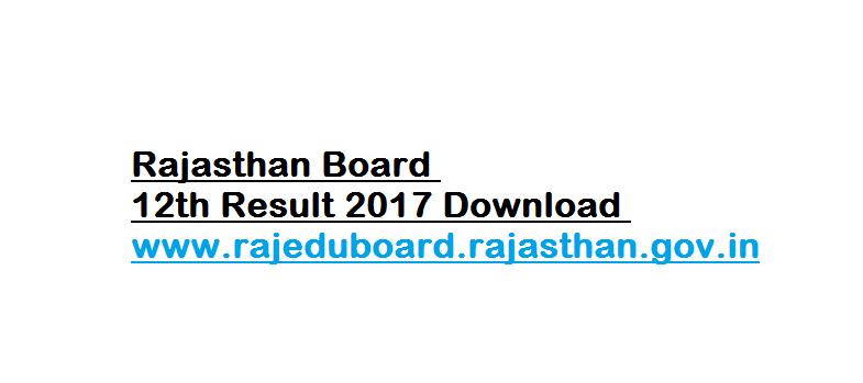 Rajasthan Board 12th Result 2017