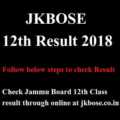 JKBOSE 12th Result 2018