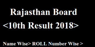 Rajasthan Board 10th Result 2018
