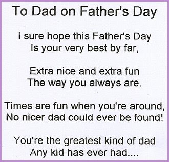 Cute and Short Fathers Day Poems