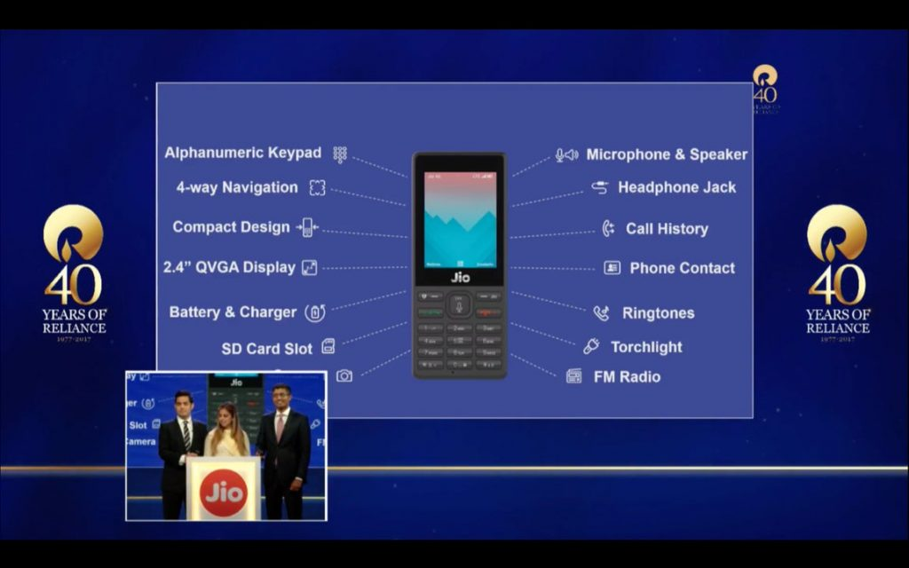 free reliance jio 4g phone features