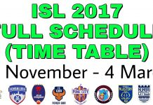Hero ISL 2017 Time Table