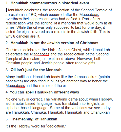 Real Hanukkah Facts